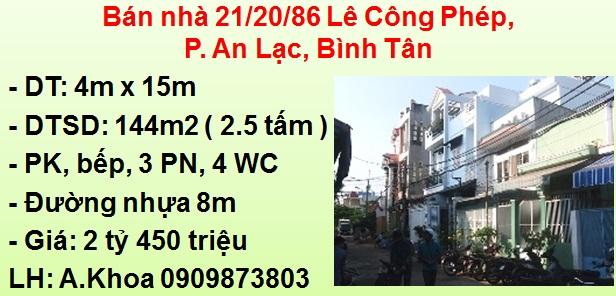Bán Nhà Đường Nhựa 8M 21/20/86 Lê Công Phép, P. An Lạc, Bình Tân