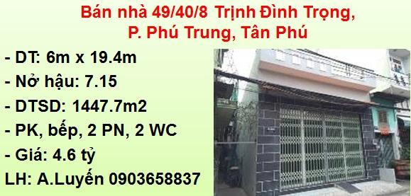 Bán nhà hẻm xe hơi: 49/40/8 Trịnh Đình Trọng, P. Phú Trung, Tân Phú