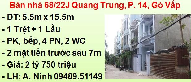 Bán nhà 5.5m x 15.5m - 2 mặt tiền: 68/22J Quang Trung, P. 14, Gò Vấp