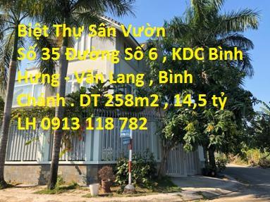 Bán biệt thự góc 2 mặt tiền, 1 trệt 2.5 lầu KDC Bình Hưng - Văn Lang đường Phạm Hùng