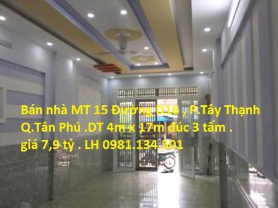Bán Nhà Mặt Tiền 15 Đường D16 , P. Tây Thạnh , Quận Tân Phú