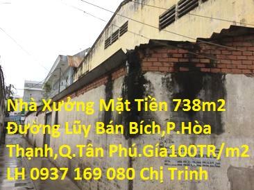 Cần bán đất nhà xưởng mặt tiền 738m2, đường Lũy Bán Bích xây dựng trên đất thổ cư,P.Hòa Thạnh,Q.Tân Phú .