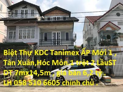 Biệt Thự 7x14,5m, 1 trệt, 2 lầu sân thượng trong khu dân cư Tanimex, ẤP Mới 1,Tân Xuân, Hóc Môn