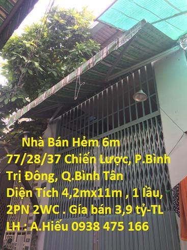 Nhà Bán Hẻm 6m Số 77/28/37 Đường Chiến Lược , P. Bình Trị Đông  , Quận Bình Tân