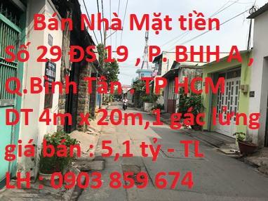 Bán Nhà Mặt Tiền Số 29 Đường Số 19 , P.Bình Hưng Hòa A , Quận Bình Tân