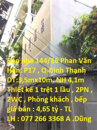Bán nhà 144/16 Phan Văn Hân, phường 17, Bình Thạnh