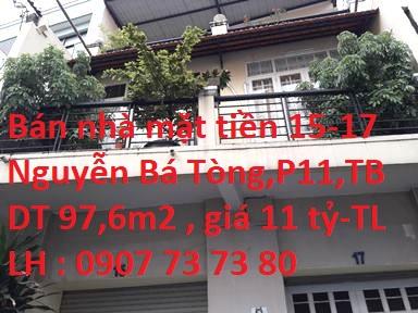 Bán Nhà Mặt Tiền Số 15-17 Nguyễn Bá Tòng , P. 11 , Quận Tân Bình