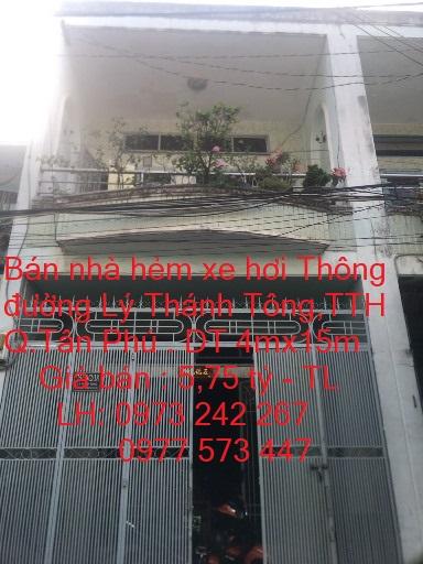 Bán Nhà HXH 75/39/2/18 Lý Thánh Tông, Phường Tân Thới Hòa, Q. Tân Phú