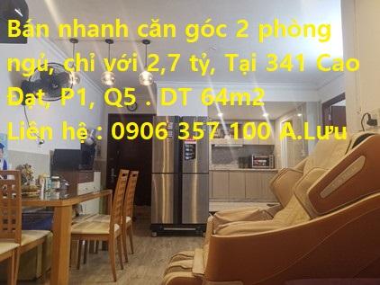 HOT HOT HOT bán nhanh căn góc 2 phòng ngủ chỉ với 2,7 tỷ tại 341 Cao Đạt Phường 1 Quận 5